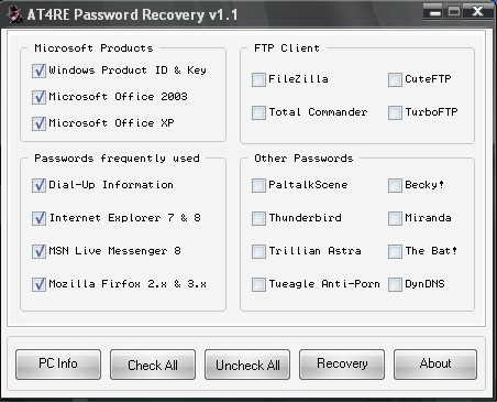 At4re Password Recovery