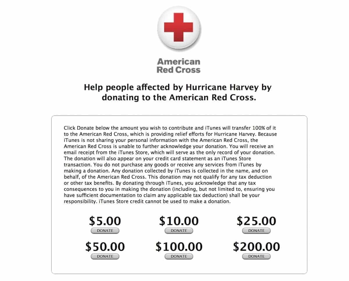 Donaciones en Apple Huracán Harvey
