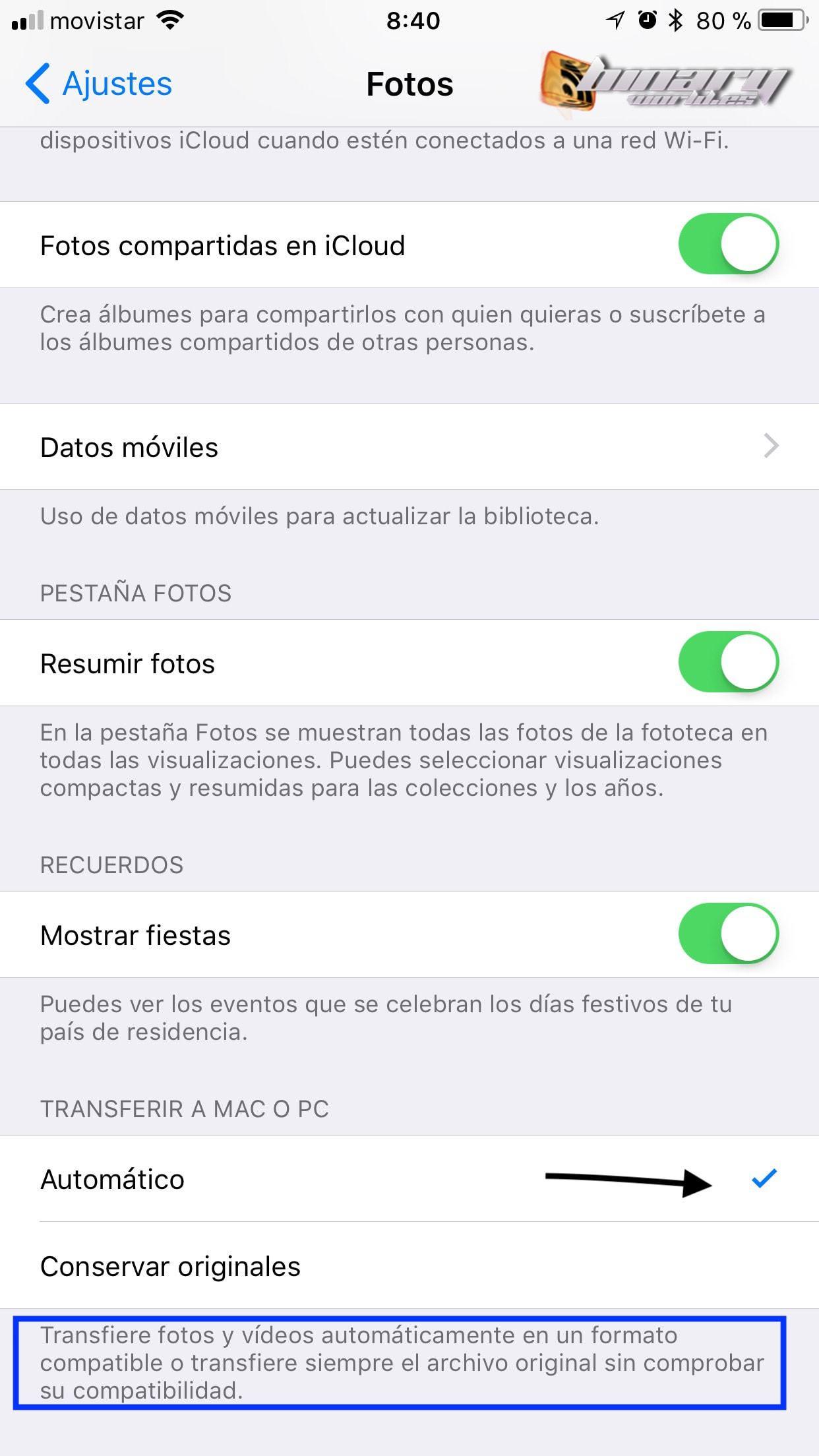Activar modo compatibilidad Alta Eficiencia en iOS 11