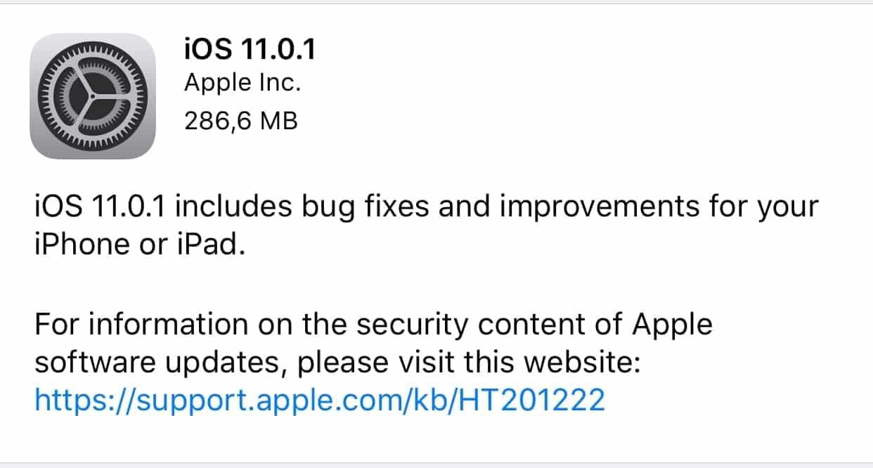 Actualización iOS 11.0.1