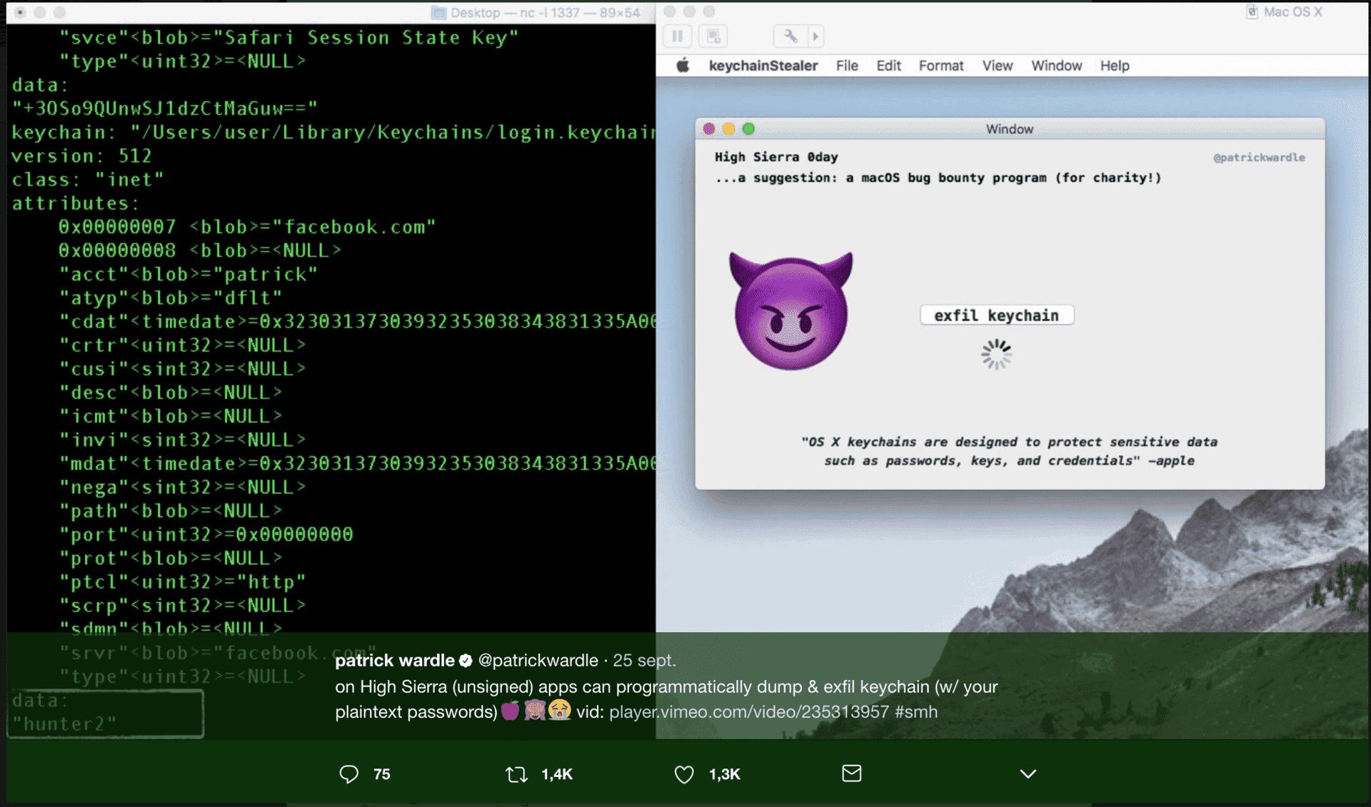 vulnerabilidad Keychain macOS High Sierra