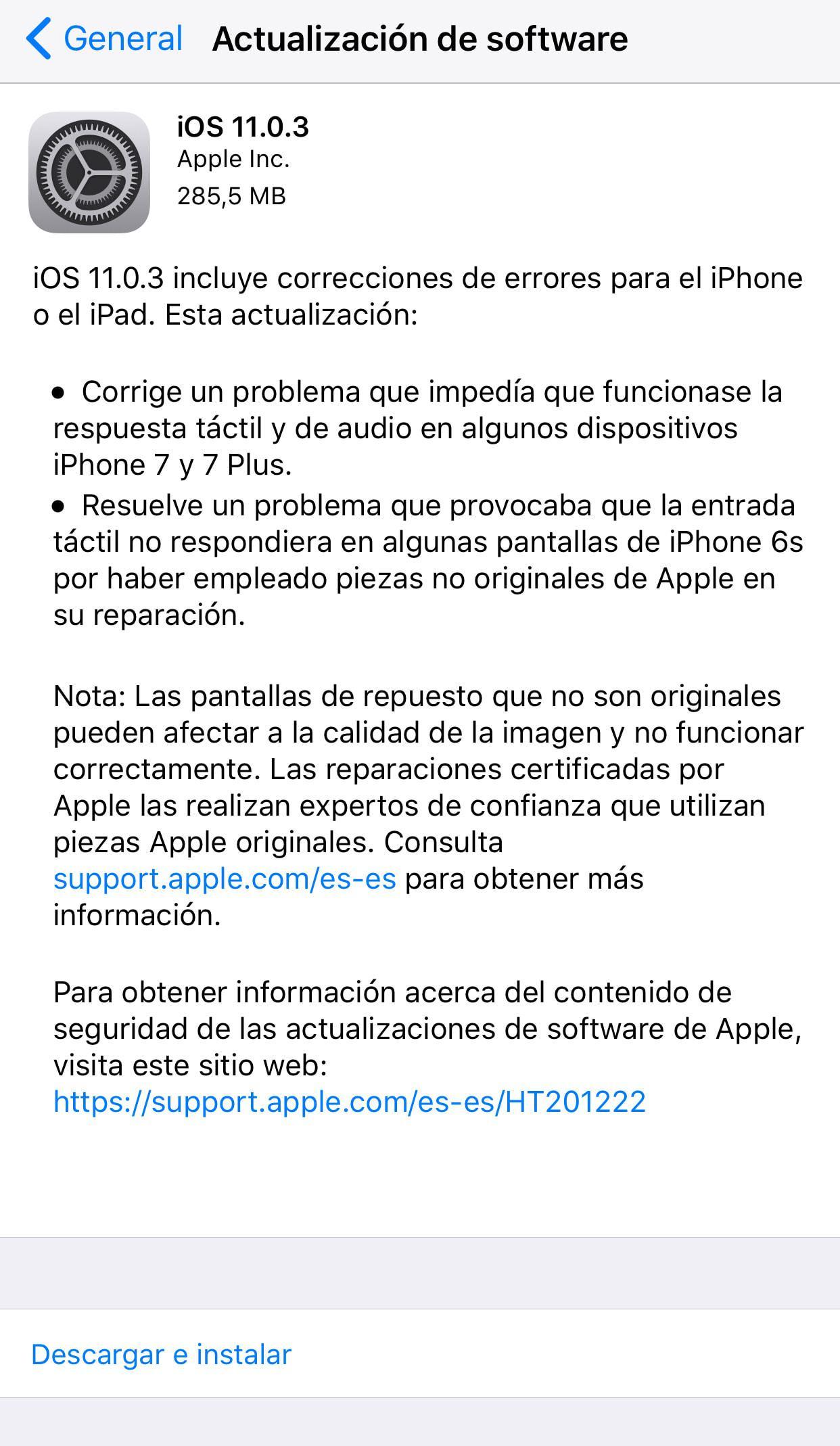 Actualización iOS 11.0.3