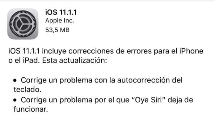 Apple publica iOS 11.1.1 solventando dos grandes problemas