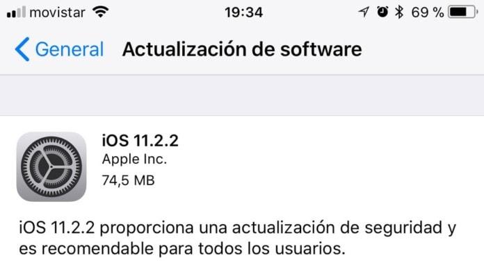 Actualización iOS 11.2.2