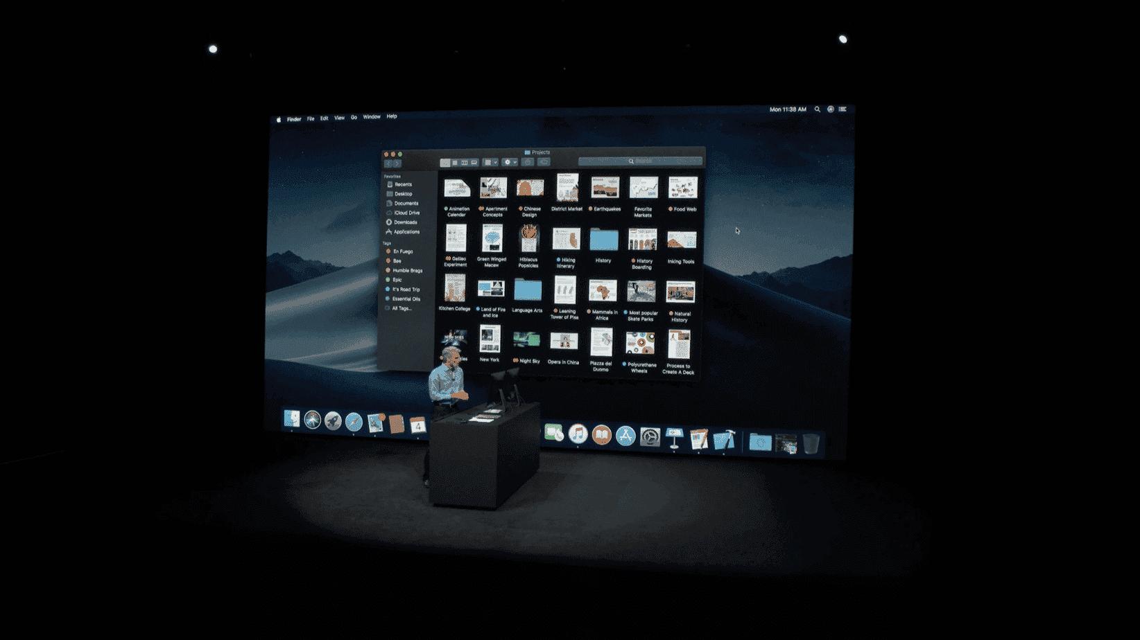 WWDC18 macOS en modo oscuro