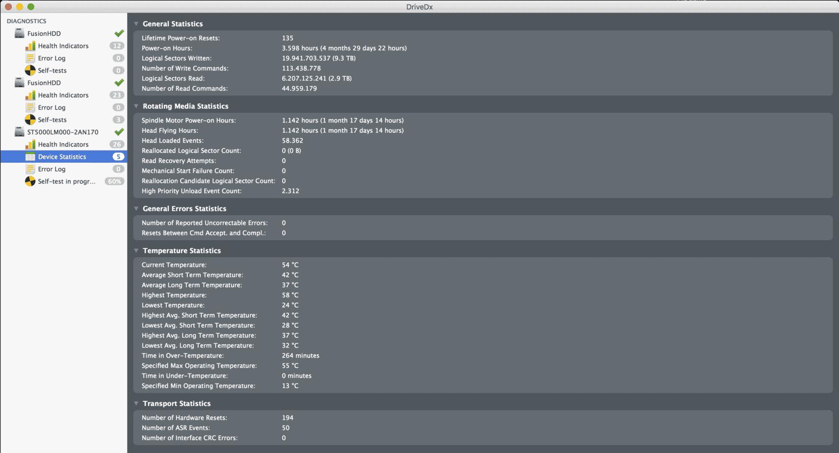 Device Statistics en DriveDX