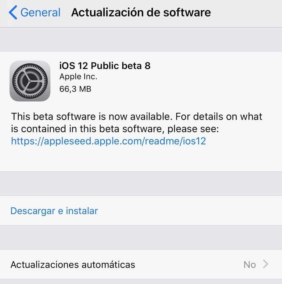 iOS 12 Beta Pública 8