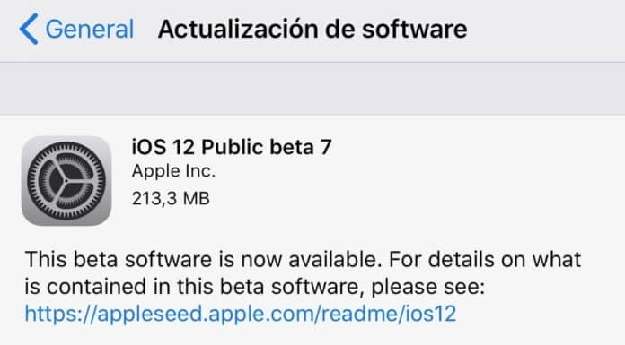 iOS 12 Beta 7 pública